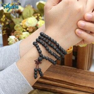 Image 4 - Ayliss Drop Schiff Lava Stein Diffusor Armbänder 108 Perlen Reiki Healing Balance Buddha Gebet Männer Frauen Armband Halskette Schmuck