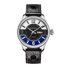Parnis Gentel II Seriers Luminous Mens Leather Watchband Fashion Big Dial Dual Calendar Automatic Mechanical Watch