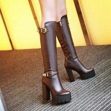 ซิปด้านข้างเข่าสูงขี่บู๊ทส์ผู้หญิงสูงส้นหนาพื้นรองเท้าหนารองเท้าฤดูหนาว