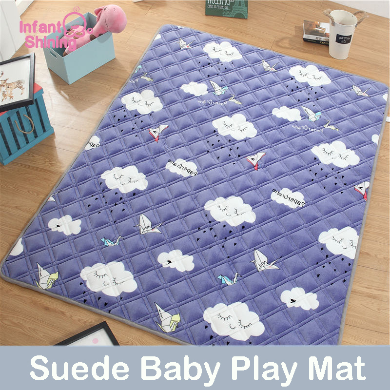 Bébé brillant 1.5 CM bébé tapis de jeu 180X200 CM daim Pad pour enfants épaississement bébé ramper tapis Machine lavable coussin tapis