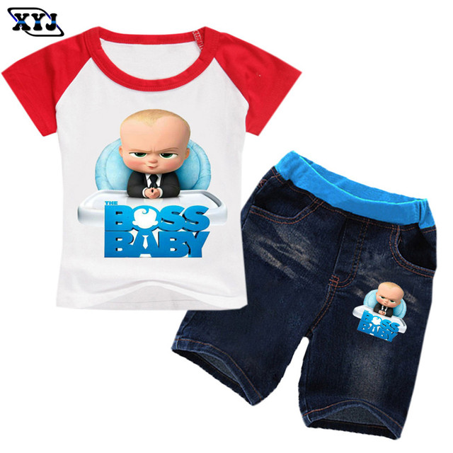 2018 Kids Casual Clothing Set For Boys Boss Baby Tracksuit Girls T-shirts  +Jeans Shorts Two Peice Suit For Boys Patchwork Tops b0f085b1e269