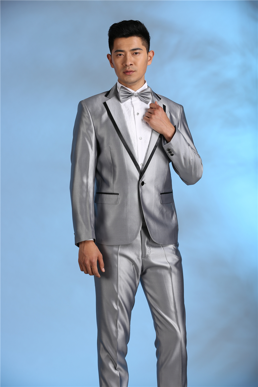 US $33.05 30% OFF|2017 neuesten Mantel Hose Designs Silber Grau Kostüm Herren Anzug Slim Fit Glänzende Smoking Bühnenshow Blazer 2 Stück Jacke
