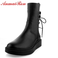 AnmaiRon Fashion Basic Pointed Toe  Winter Boots Genuine Leather Mid-Calf Women Womens 2018 Size34-39 LY222