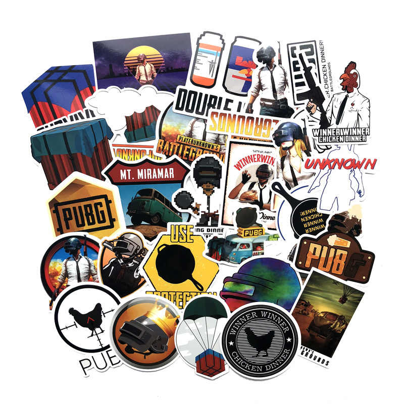 30Pcs/set Game PUBG Stickers Cosplay Prop Accessories PVC Decal waterproof Sticker For Skateboard Laptop
