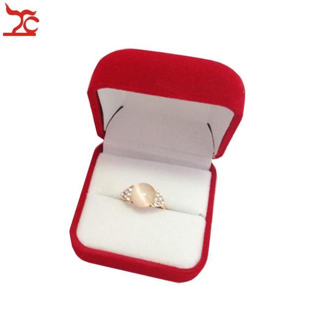 48X Velvet WeddingEngagement Ring Box Top Grade Red DiamondGold