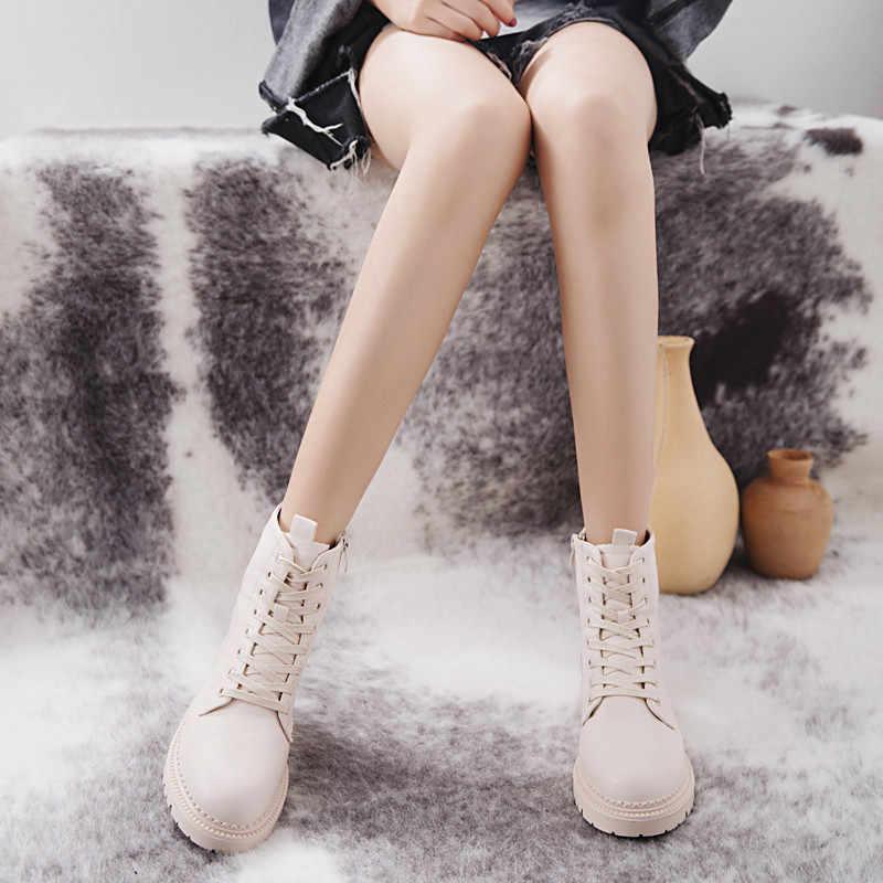 COOTELILI Thời Trang Dây Kéo Phẳng Giày Người Phụ Nữ Cao Gót Nền Tảng PU Leather Boots Lace up Phụ Nữ Giày Mắt Cá Chân Khởi Động Cô Gái 35 -40