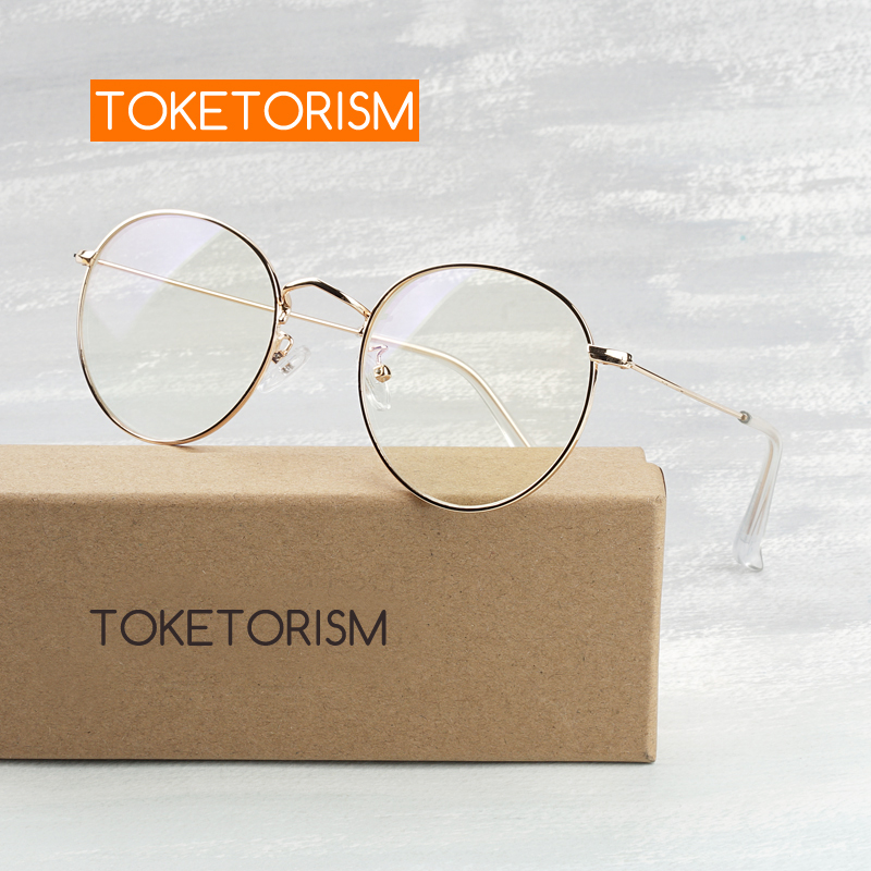 Toketorism Blue Light Blocking Glasses Metal Round Glasses For Computer Men Women Anti Blue Eyeglasses 180