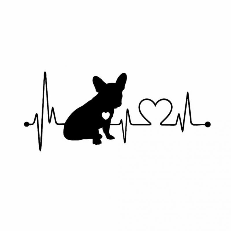 18CM*7.7CM French Bulldog Waterproof Vinyl Decoration Car Bumper Window Car Sticker Black/Silver