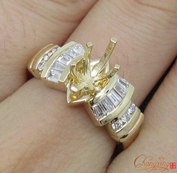 5x10 мм Маркиза твердого 14 К Желтое золото 0.51ct природных алмазов кольцо маунт semi, оптовая Кольцо