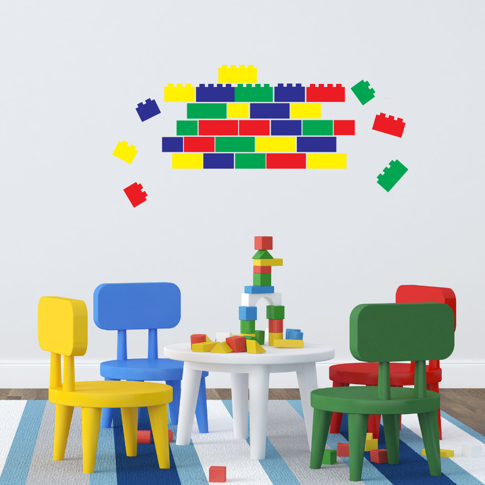 Lego Briques-40 Blocs en 4 Couleurs/Ensemble de Vinyle Wall Sticker Drôle Stickers Muraux Pour Enfants Chambre décoration