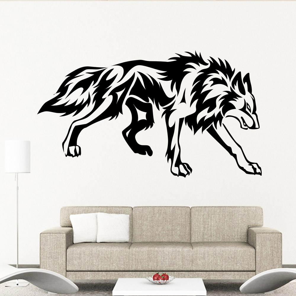 Vinilos Decorativos Para Paredes Us 3 63 9 Off Muyuchunhua Wolf Cub Removable Art Wall Stickers For Kids Rooms Bedroom Living Room Vinilos Decorativos Para Paredes In Wall Stickers