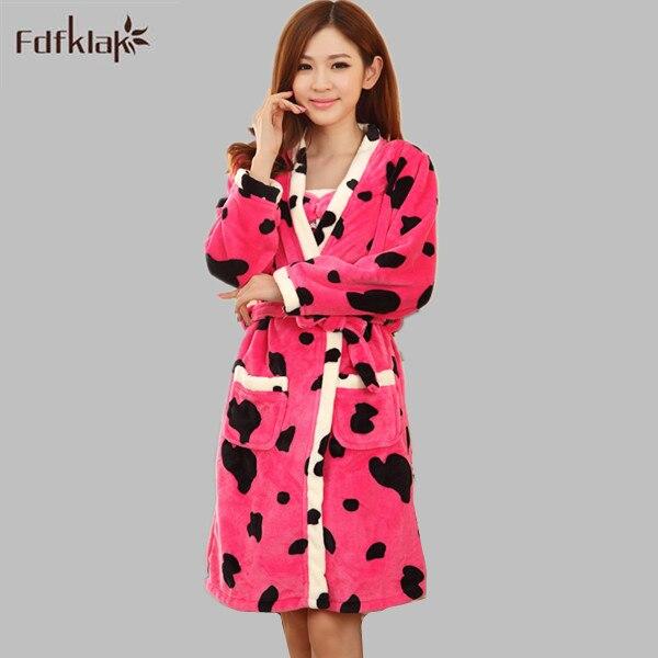 372005ff4d Fdfklak Winter New Cartoon Flannel Robe Girl   Women Bathrobes Female  Thickening 2 Pieces Robes Gown Sets Home Sleepwear E0804