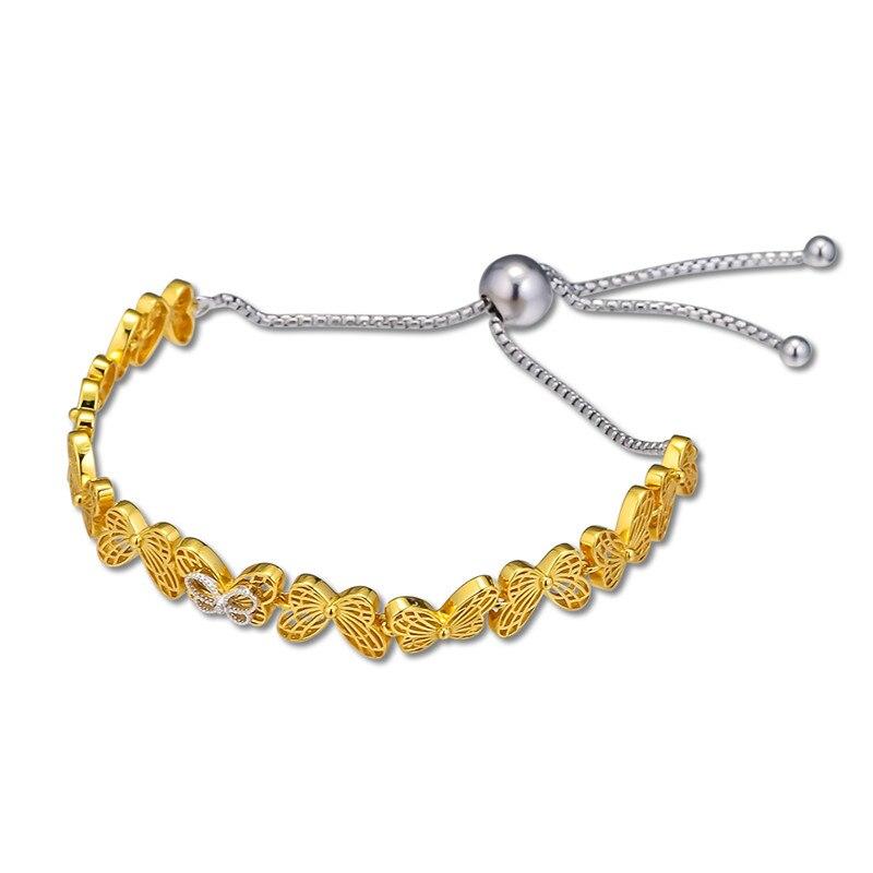 2019 Golden Shine Bracelets Jewelry Openwork Butterflies Sliding Bracelets for Women Fine Spring Adjust Chain Silver