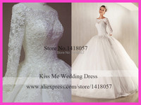 2015 Real Sample Winter Lace Long Sleeves Wedding Dresses Ball Gown Bridal Dress Tulle Custom Made