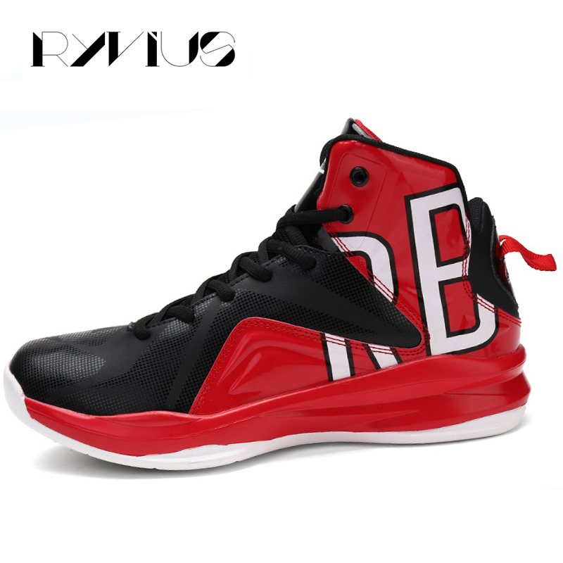 Ryvius Big Size 39-46 High Top Sport Basketball Shoes Men Breathable Leather Trainers Athletic Cushion Sneakers Basket Hombre