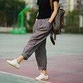 Pantalones Para Las Mujeres 2016 de Primavera y Verano de Las Mujeres de Lino Pantalones Sueltos Pantalones Harem Femeninos Pantalones A Rayas 2 Colores