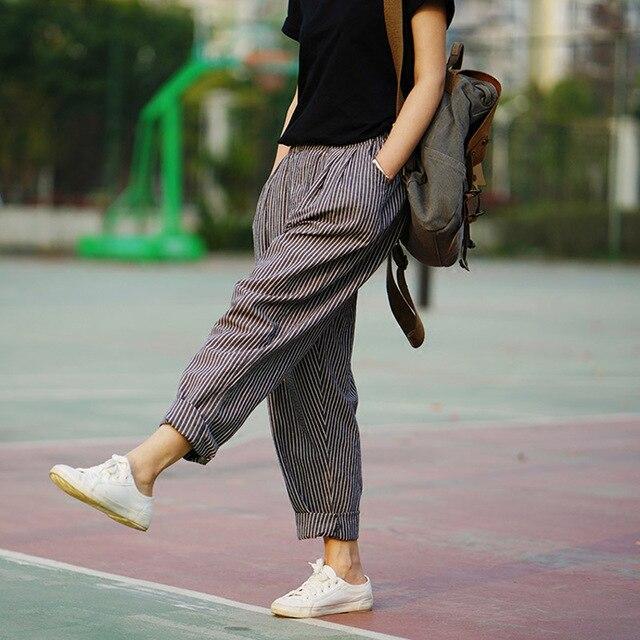 Trousers For Women 2019 Summer Autumn Women's Linen Pants Loose Trousers Female Brand Harem Pants Striped Trousers 2 Colors S183