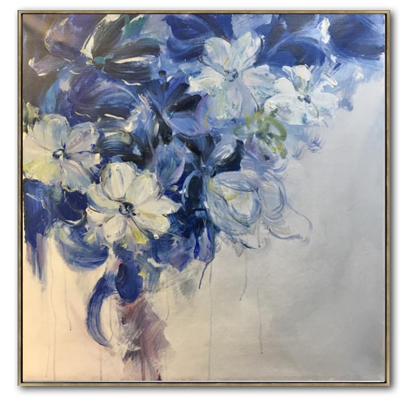 blue hand painted flowers Dancing Petals Modern Canvas knife painting Floral Oil Painting Wall Art pictures for living room