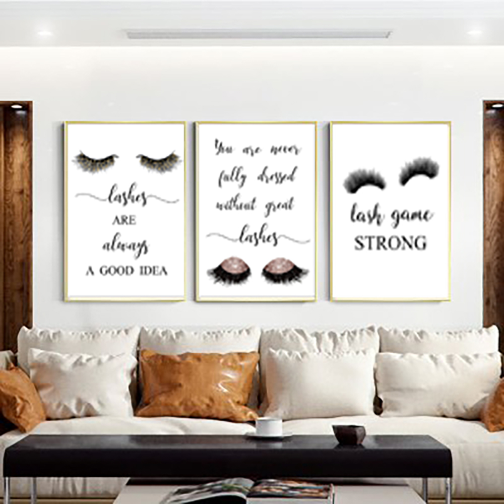 Modern eyelashes fashion canvas poster painting eyelashes decor painting NO picture frame makeup wall girl bedroom salon decor in Painting Calligraphy from Home Garden