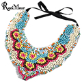 2017 Fashion Bohemian Handmade Wooden Beaded Collares Necklaces Ethnic Statement Lace Ribbon False Colar Chokers Womens Jewelry