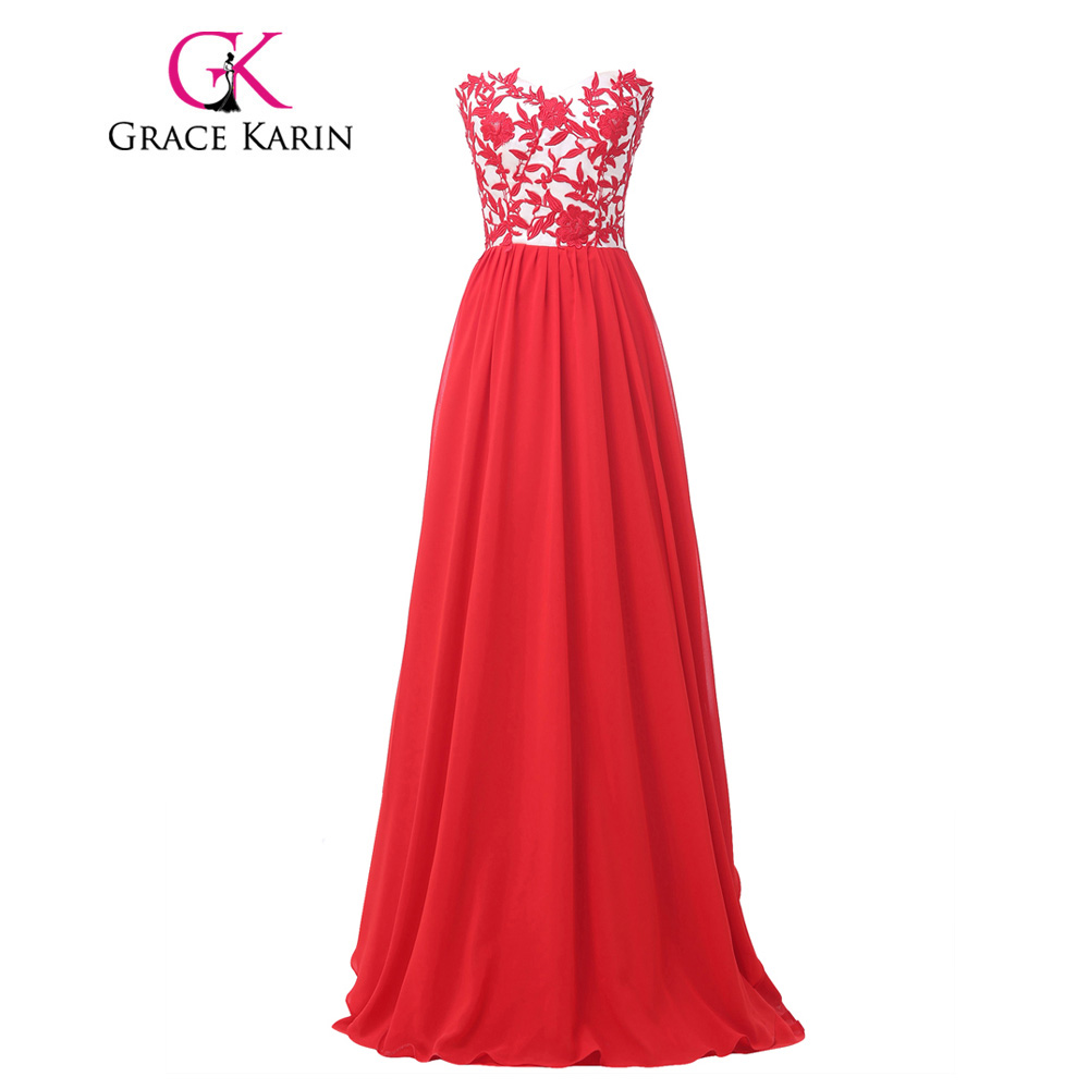 Grace Karin Elegant Red Evening Dresses 2018 Floor Length Chiffon ...
