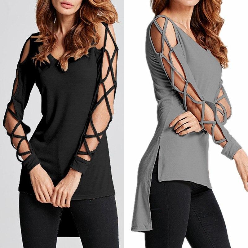 CELMIA Mujer Verano 2018 Frauen Sexy Aushöhlen Langarm V neck T-shirt Damen Side Split Lange Tops Shirt Sommer Blusas S-3XL