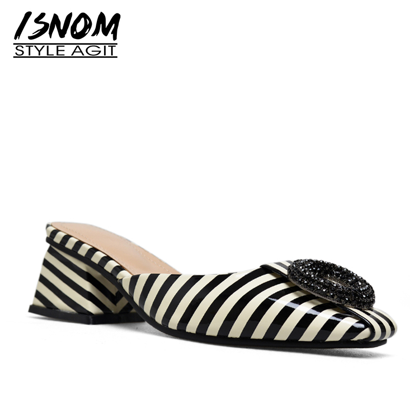 ISNOM Patent Leather Woman Slippers Square Toe Footwear Stripe Female Slides Shoes Crystal Comfort Mules Shoes