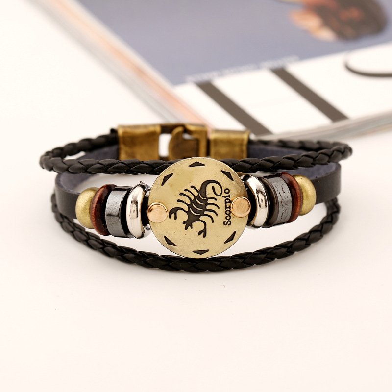 Scorpion Zodiac Bracelets Men Boys Gold Color Bead Charms Genuine Leather Bracelets & Bangles 12 Constellation Women Jewelry