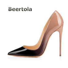 Beertola Black-Nude Two Tone Brand Shoes Women Patent Leather Big Size Women  Pumps Sexy High Heel Shoes Lady Stiletto Heels ad9a8803f57f