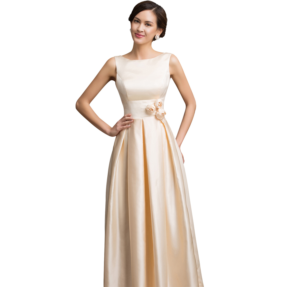 Two Shoulder Long Satin Evening Dress Gown Sleeveless Low Back ...