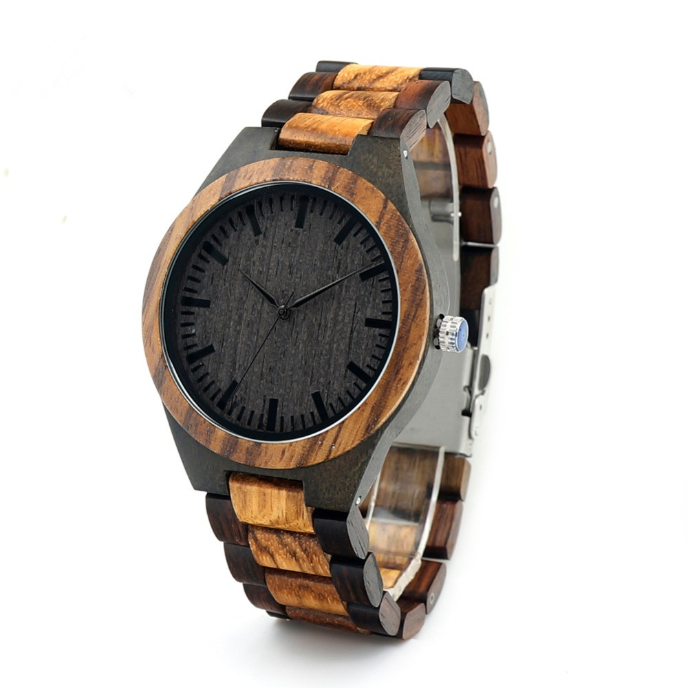 REDEAR Round Vintage Zebra Wood Case Men Watch Ebony Bamboo Wood Face With Zebra Bamboo Wood Strap Japanese movement Wristwatch mathey tissot h1886ai