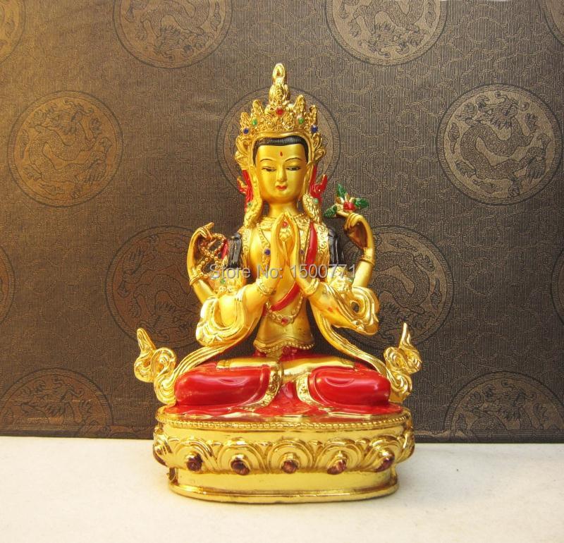 Buddha szobor / Tantrikus buddhista kellékek réz aranyozott festett négykaros szobra Guanyin Buddha / Chenrezi (avalokitechvara)