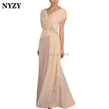 NYZY M170 V Neck Pleats Chiffon Nude Pink Long Mother of the Bride