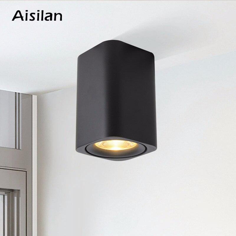 Aisilan LED plafonnier nordique carré monté en Surface pour pièce/couloir/couloir/Foyer AC85-260V Spot Cube COB