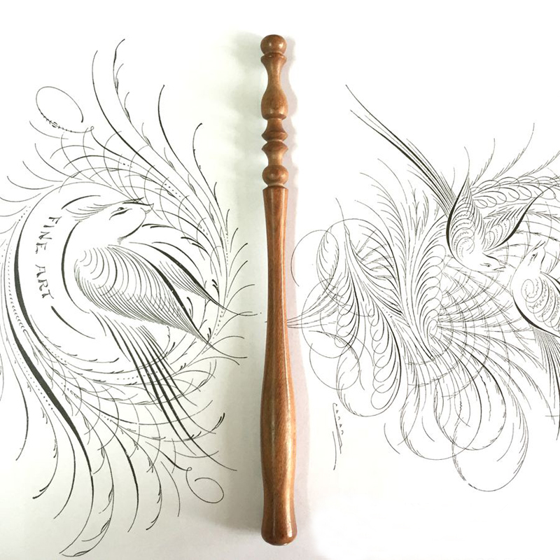 New English Professional Wood Carving Calligraphy Straight Dip Pen Holder Body Italy Gothic Dip Pen