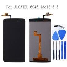"""עבור אלקטל 5.5 """"אחד מגע איידול 3 5.5 6045 OT 6045 6045K 6045Y LCD דיגיטלי ממיר רכיב מסך תיקון אביזרי + כלים"""