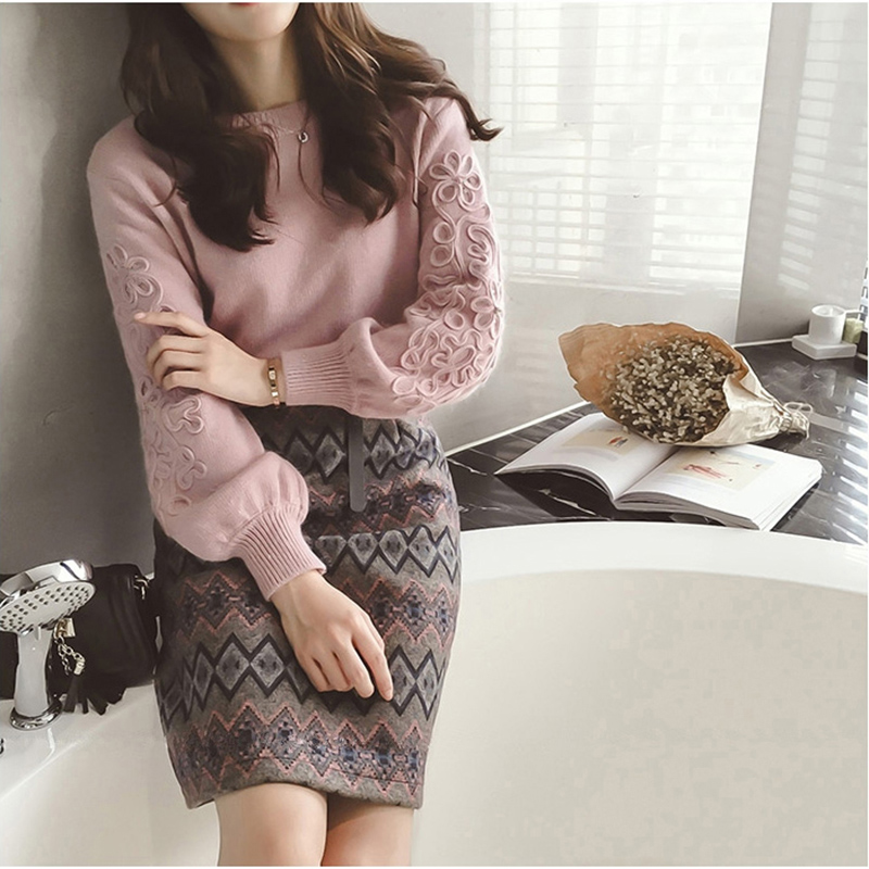 Women Vintage Knit Sweater Skirts Sets Geometric Printed skirt sets Female Woman Knitting Clothing Suits