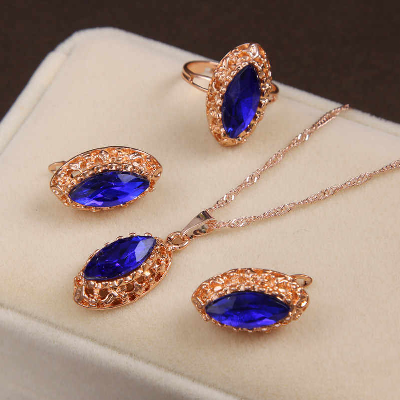African Beads Jewelry Sets Bridal Golden Plated Necklace Rarrings Ring Wedding Accessories Crystal sieraden women jewellery set