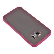For Samsung Galaxy S6 Edge G9250 Simple Slim Colorful TPU Frame Transparent Matte Back Cover Clear Case + Free Screen Protector