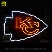 Business Custom NEON SIGN Board For Football LED Kansas City Chiefs REAL GLASS Tube BEER BAR