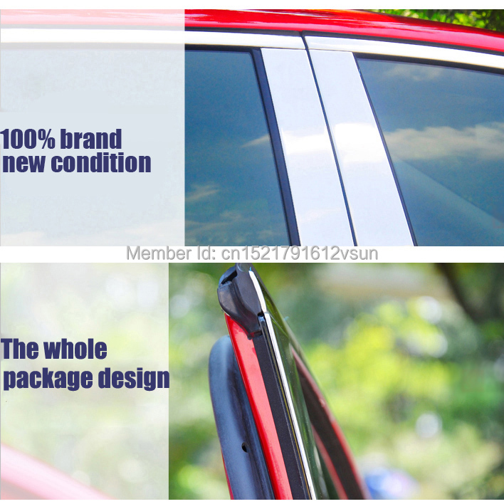 TOMMIA Full Window Middle Pillar Molding Sill Trim Chromium Styling Strips Stainless Steel For Citroen C4L 2013-2014