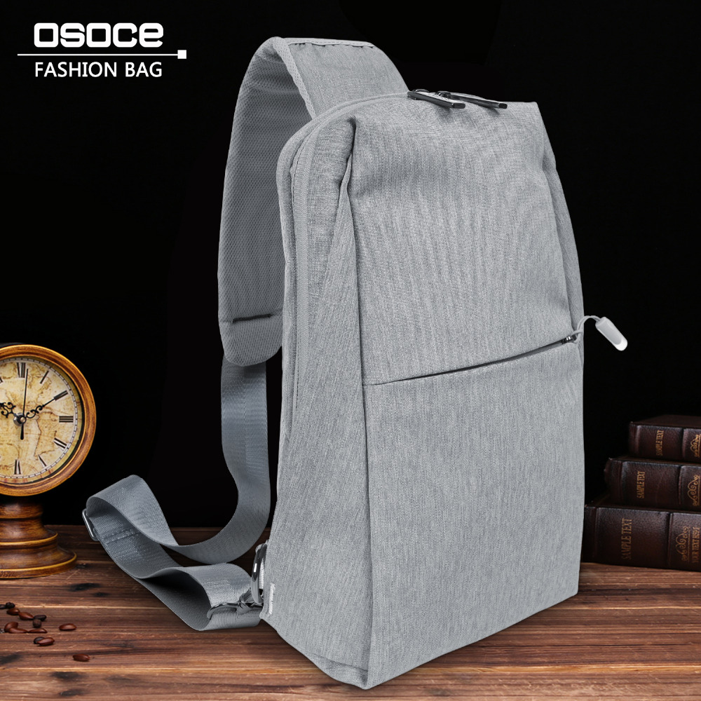 OSOCE Chest Bag Men Gray Shoulder Bags Polyester Waterproof Male Mini  Crossbody Bag Man Small Messenger Bag Men-in Waist Packs from Luggage   Bags  on ... e41e735482ed