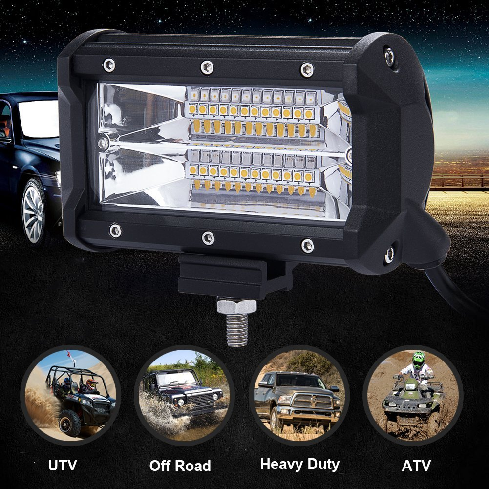 1Pair 5 quot 72W Work Light Bar 24 LED Flood Driving Lamp Aluminium Fram for Jeep Truck Boat Offroad 12 24V 6000K WIth Bracket in Signal Lamp from Automobiles amp Motorcycles
