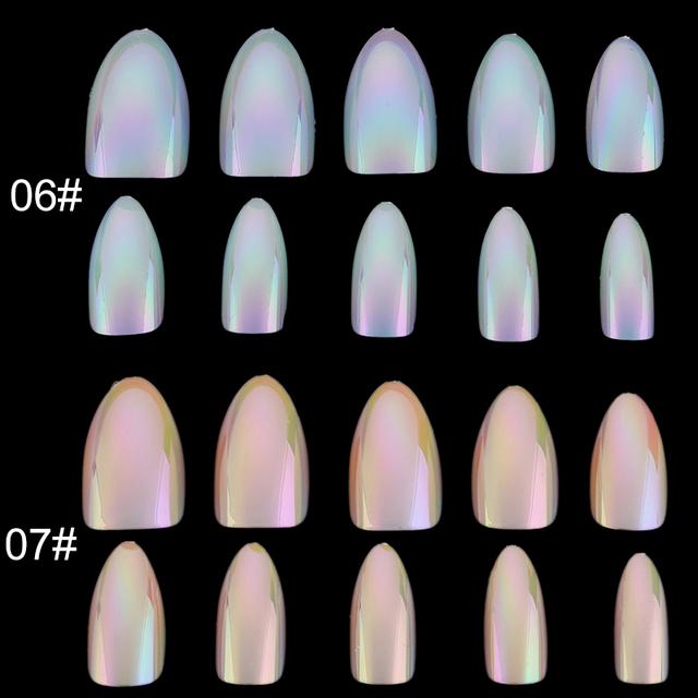 Chrome Nails STILETTO Fake Nail Tips 12pcs/Box Metallic False Nail Art Manicure Press on Nails Mirror Look
