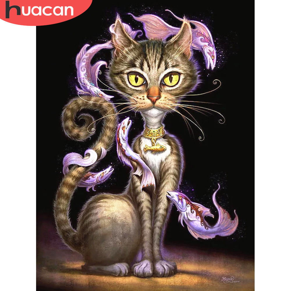 HUACAN Diamond Embroidery Sale Cat Full Square/round Drills Diamond Mosaic Animal 5d Diamond Painting Stones Beadwork(China)