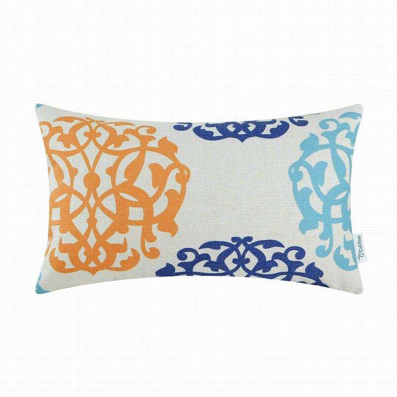 Navy Blue Orange Yellow Southwestern Throw Pillo Pillow