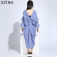 XITAO 2017 Korea New Summer Fashion Women Plaid Pattern Flare Sleeve Hollow Out Dress Female