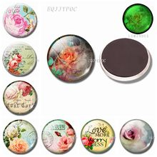 Romantic Roses 30 MM Refrigerator Magnets Luminous Fridge Glass Magnetic Stickers for Valentines Day Present