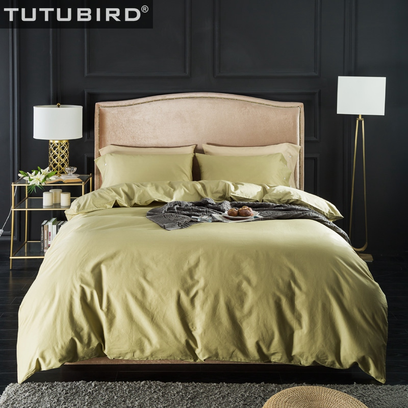 TUTUBIRD Solid Green bed linen 100% Natural Egyptian Cotton bedding set long staped bedclothes 4pcs pillowcases HometextileTUTUBIRD Solid Green bed linen 100% Natural Egyptian Cotton bedding set long staped bedclothes 4pcs pillowcases Hometextile
