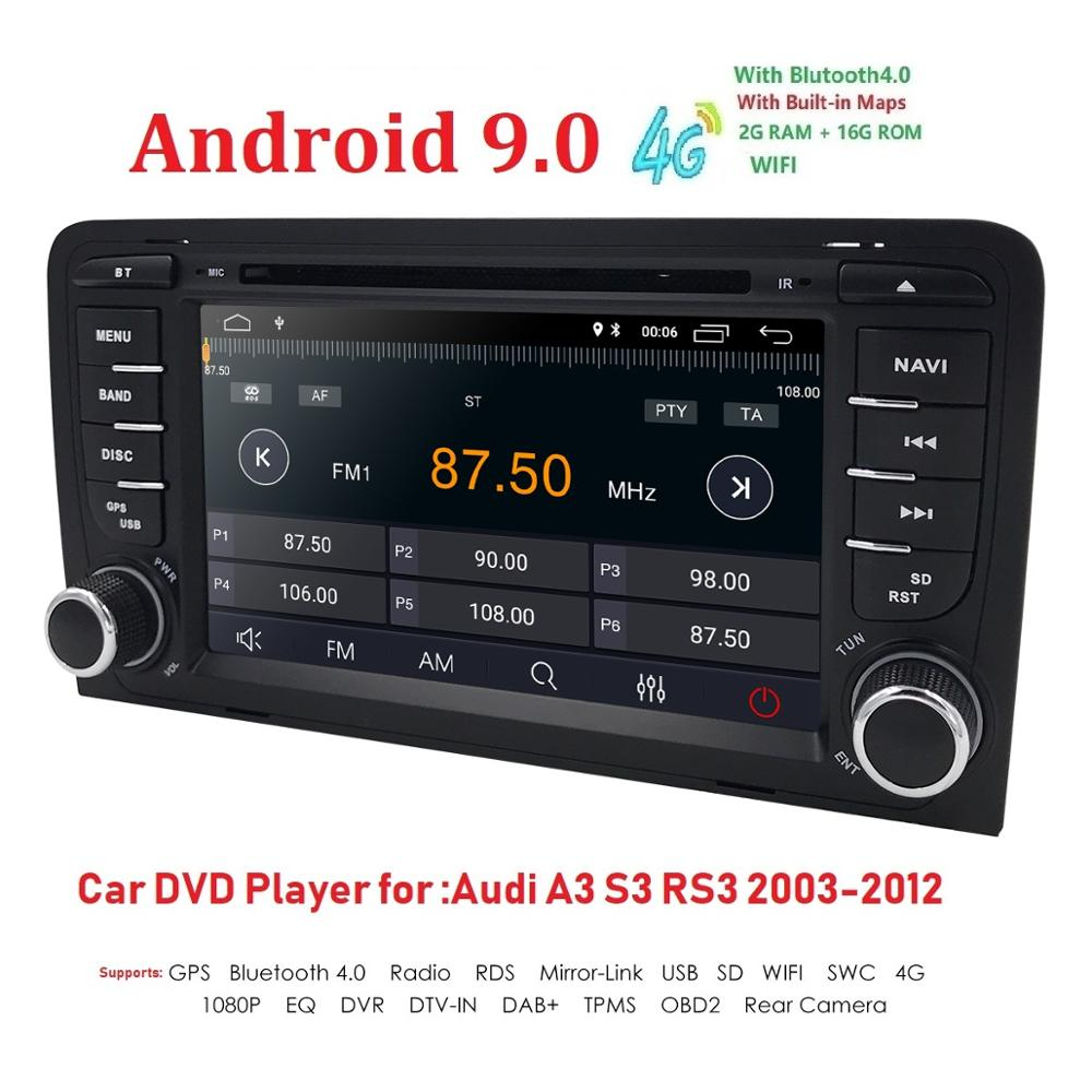DSP IPS 2Din Auto Multimedia-Player GPS Android 9 DVD Automotivo <font><b>Radio</b></font> Für <font><b>Audi</b></font> <font><b>A3</b></font> 8 P/<font><b>A3</b></font> 8P1 3 -tür Hatchback/S3 8 P/RS3 Sportback image